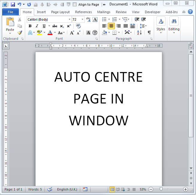 Auto-Centre Microsoft Word Documents