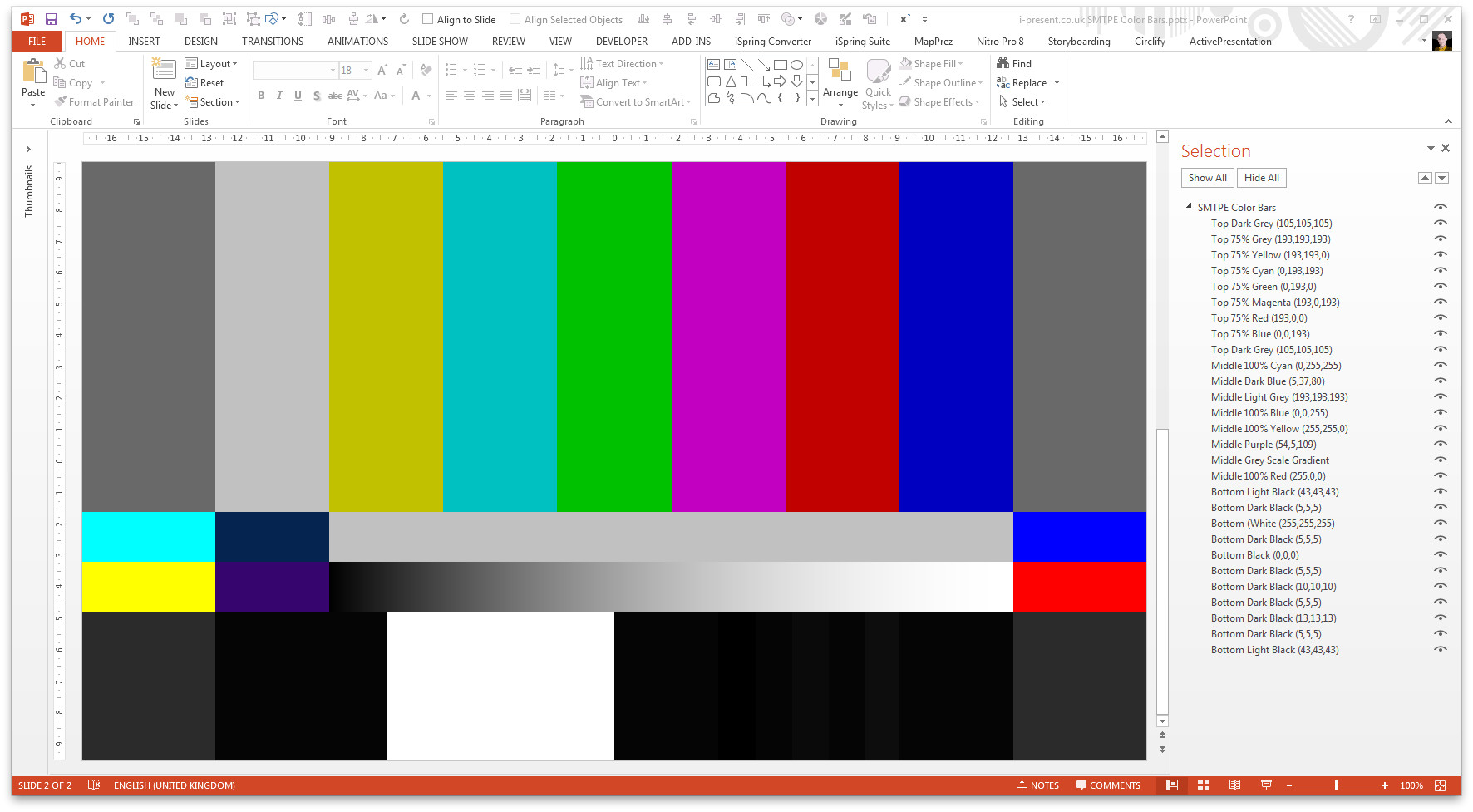 smpte color bars in powerpoint