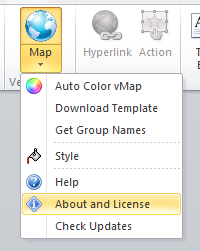 vMaps for PowerPoint - Button About License
