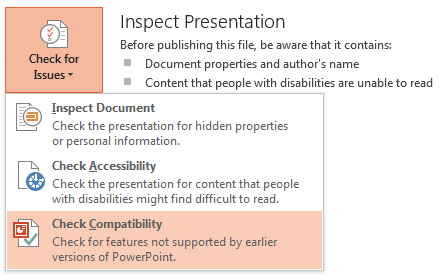 PowerPoint 2013 Check Issues