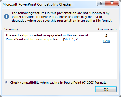 PowerPoint 2013 Compatibility Check