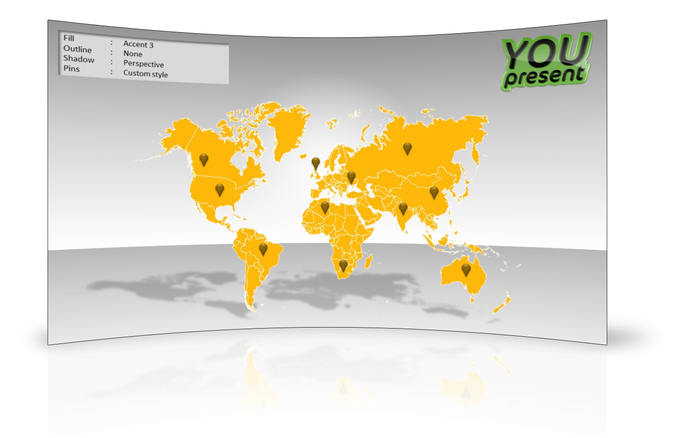World map template for PowerPoint by YOUpresent - slide 2
