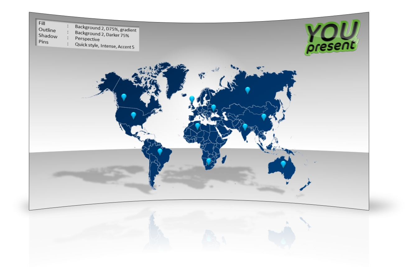 World map template for PowerPoint by YOUpresent - slide 3