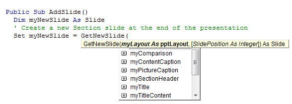 youpresent.co.uk - VBA Wrapper - AddSlide - IntelliSense