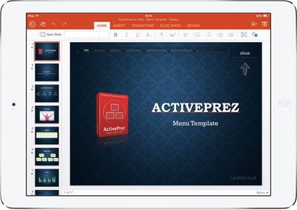 PowerPoint with ActivePrez menu on iPad mini