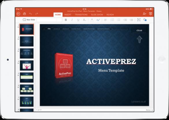 PowerPoint with ActivePrez menu on iPad mini