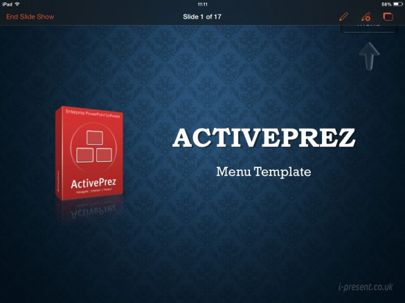 PowerPoint slide show start on iPad with ActivePrez