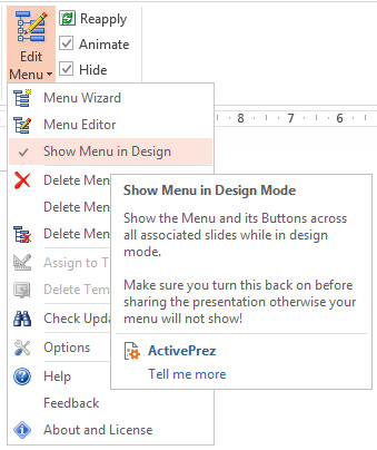 ActivePrez for PowerPoint - Show Menu in Design Mode