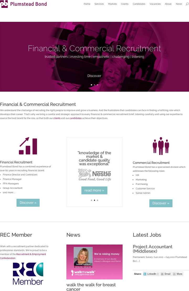 Plumstead Bond website by YOUpresent