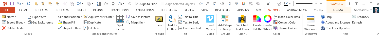PowerPoint add-in : G-Tools Ribbon V1.97
