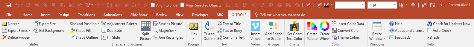 G-Tools for PowerPoint - Ribbon