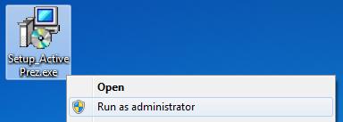 ActivePrez Run as administrator