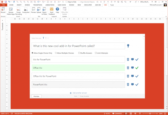Office Mix for PowerPoint - Lab Apps for Office - Multiple Choice