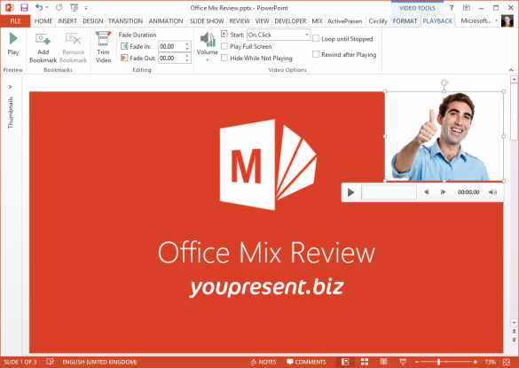 Office Mix for PowerPoint - Recorded video on Slide