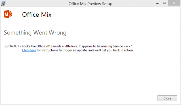 Office Mix for PowerPoint - SP1 Error