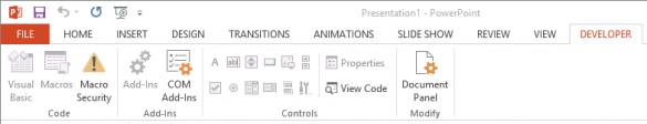 VBA Disabled in PowerPoint Developer Ribbon