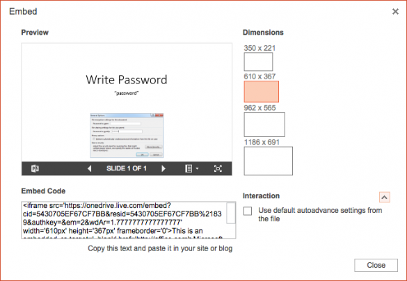 PowerPoint Online Embed code