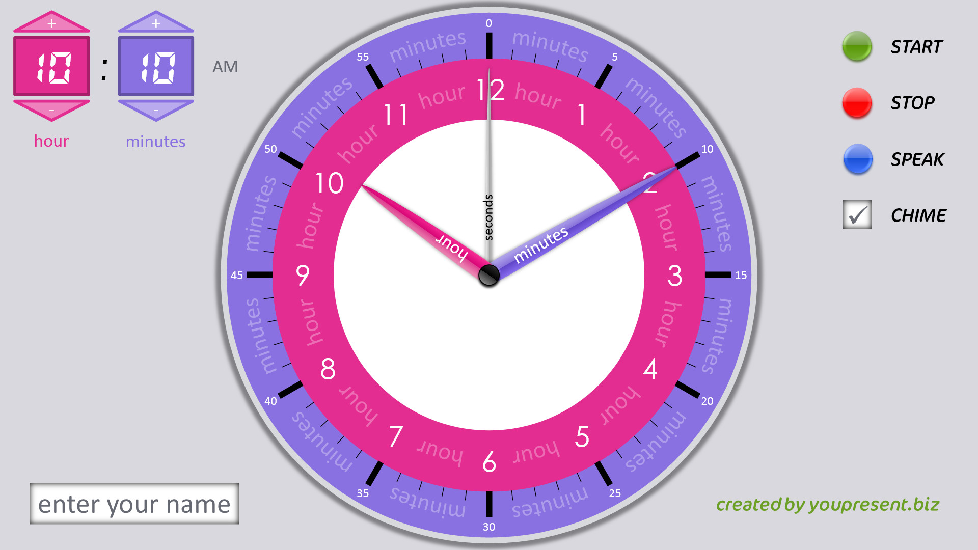 PowerPoint Teaching Clock slide show