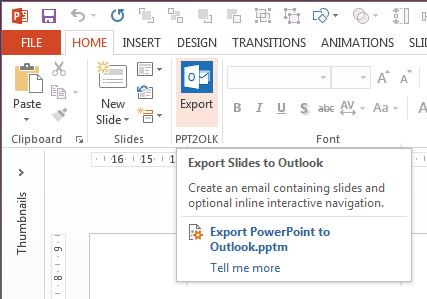 PowerPoint to Outlook - Ribbon