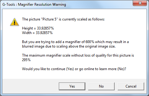 PowerPoint Magnifier Tool - Resolution Warning