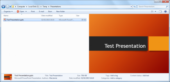 PowerPoint presentation in Windows Explorer