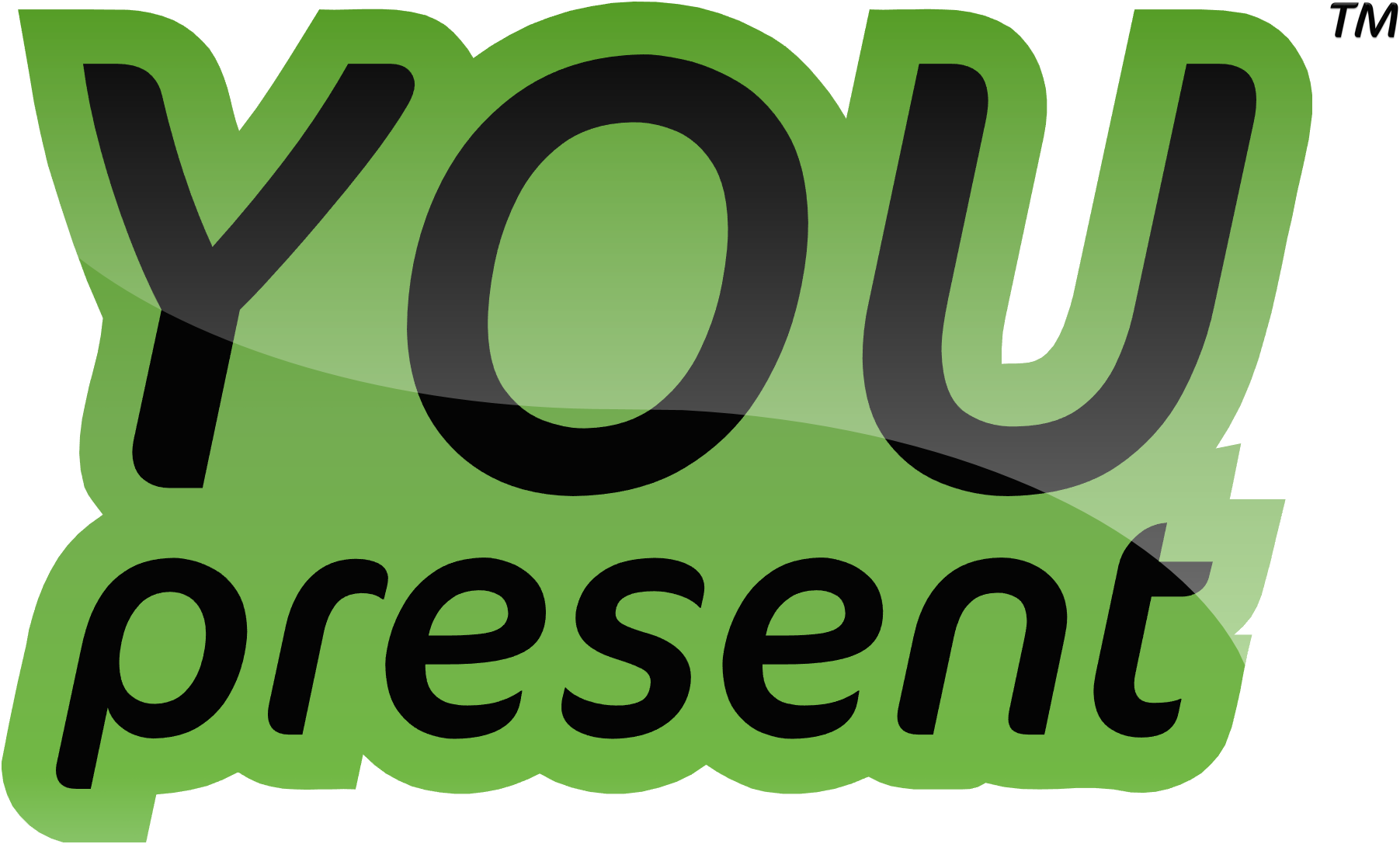 YOUpresent logo (flat black on green)