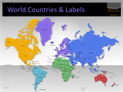 Editable Maps And Heat Maps For PowerPoint YOUpresent - The world map with labels