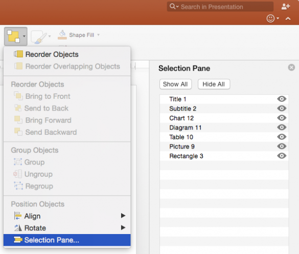 PowerPoint mac 2016 Selection Pane