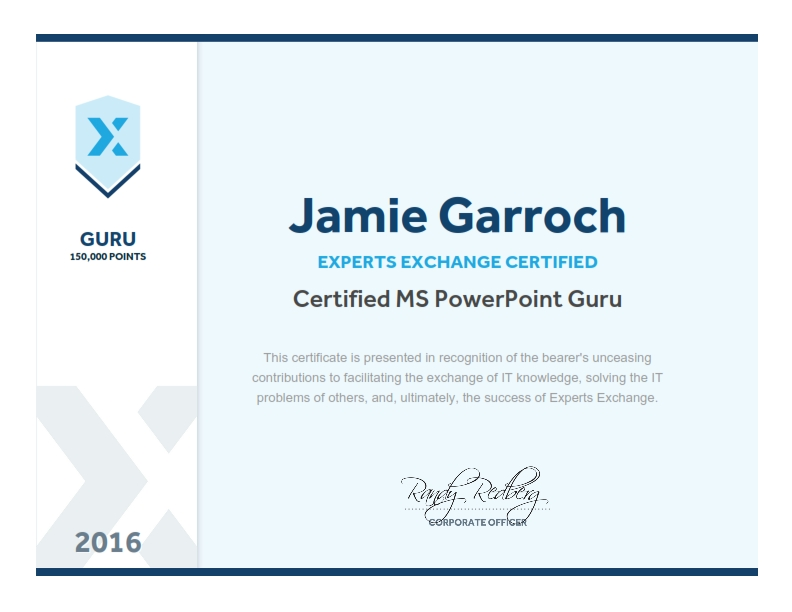 PowerPoint Guru Certificate - Jamie Garroch - Experts Exchange