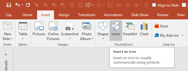PowerPoint Graphic Icons in ribbon