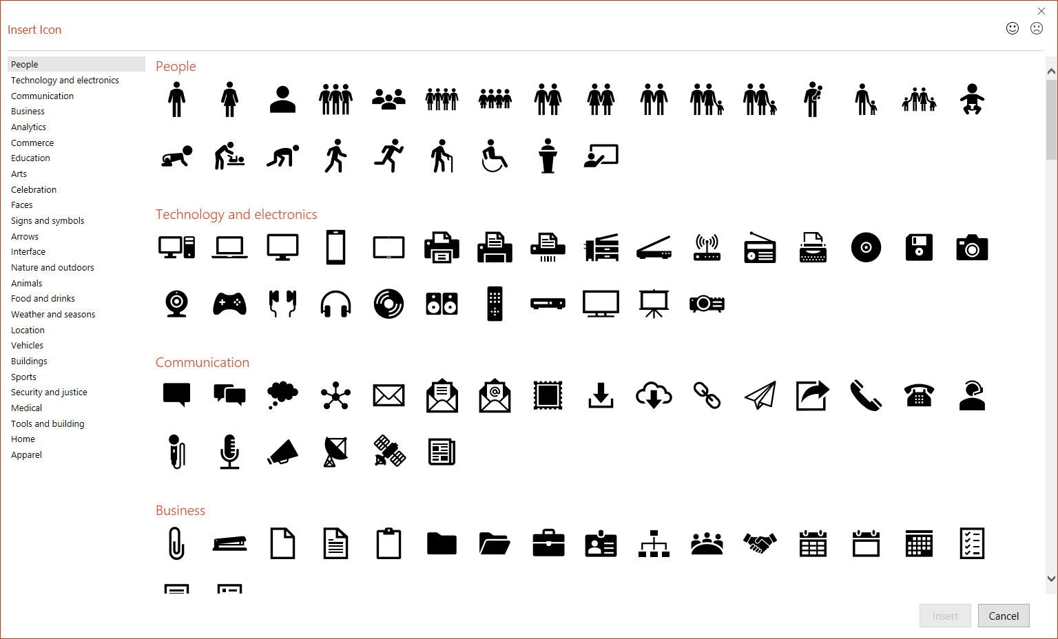 PowerPoint Insert Icons window