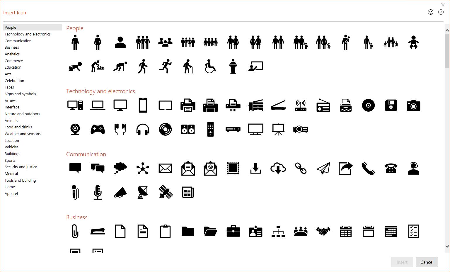 PowerPoint Insert Icons window