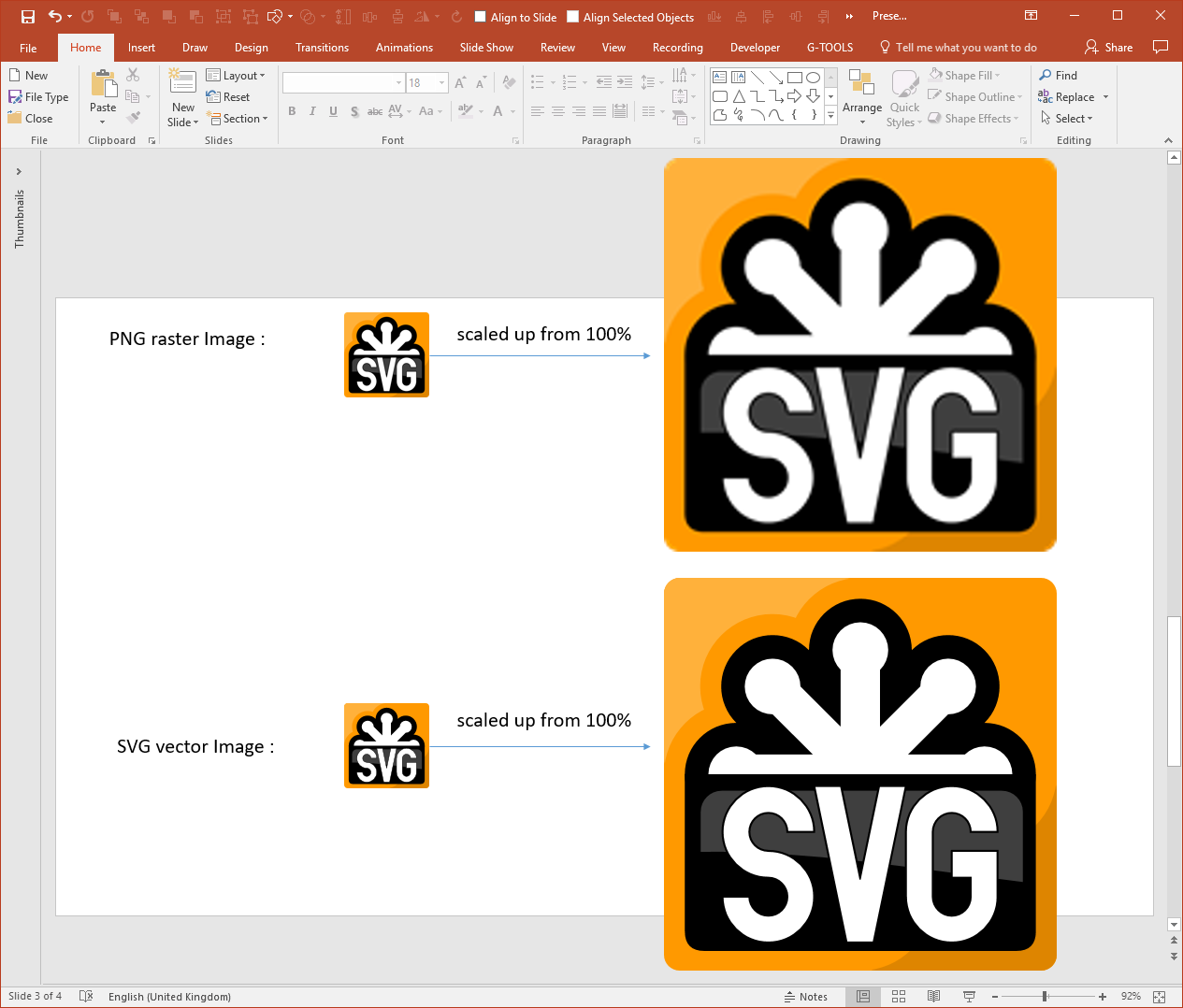 PowerPoint PNG SVG Comparison