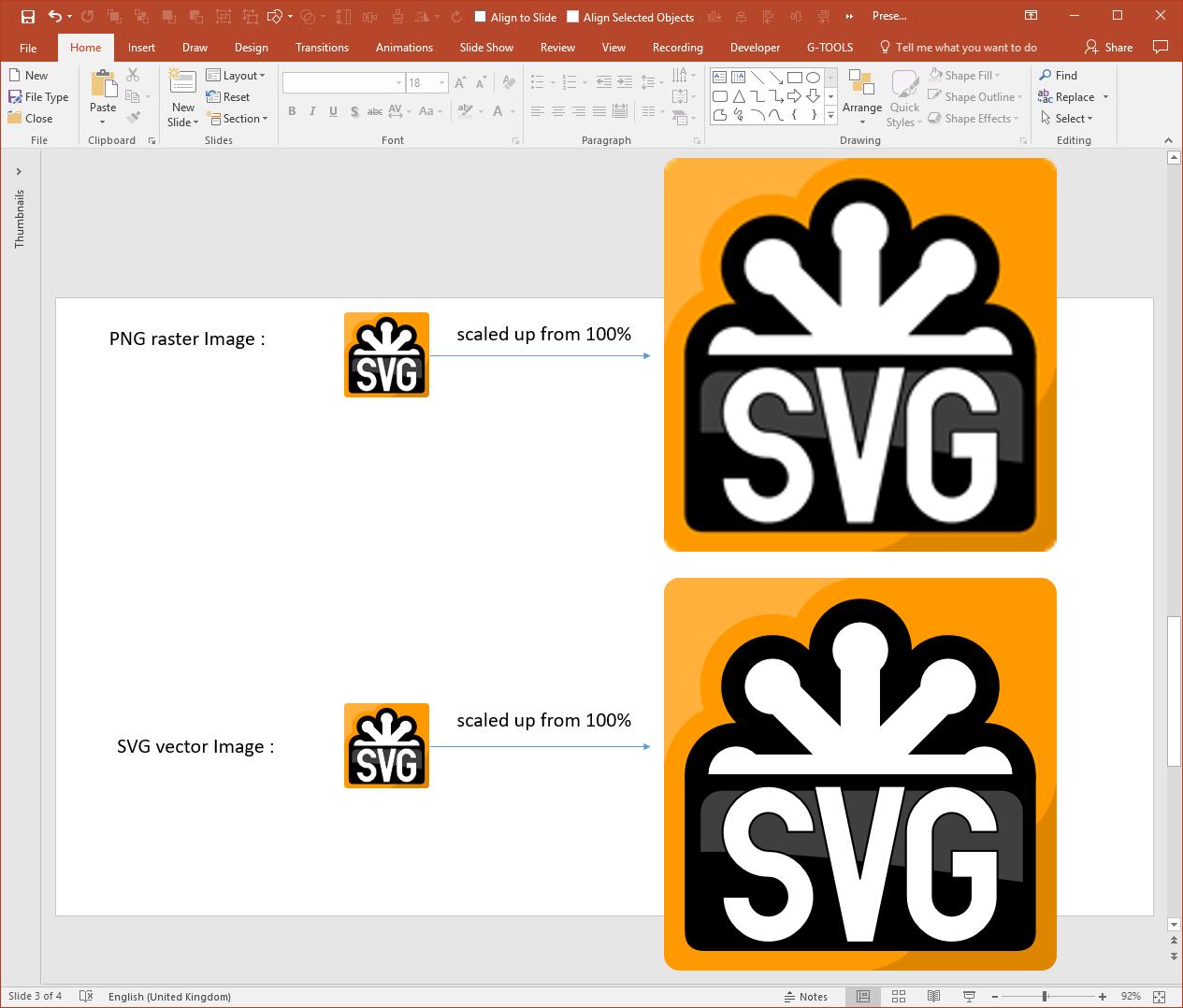 PowerPoint PNG SVG Comparison