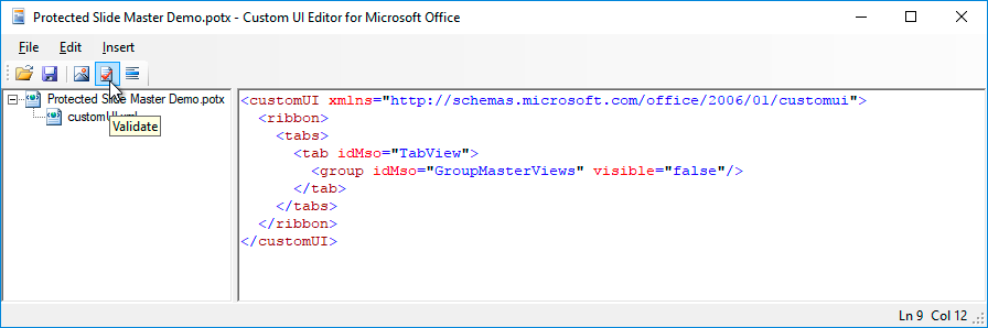 CustomUI Editor - validate button