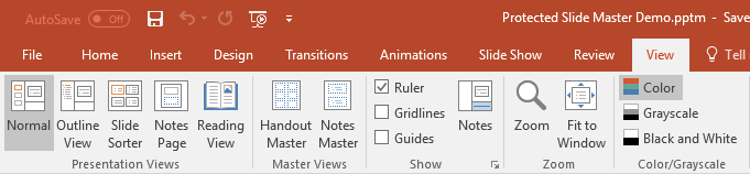 Master Views - Slide Master hidden
