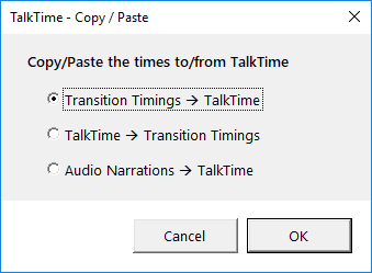 TalkTime for PowerPoint : Copy Timings