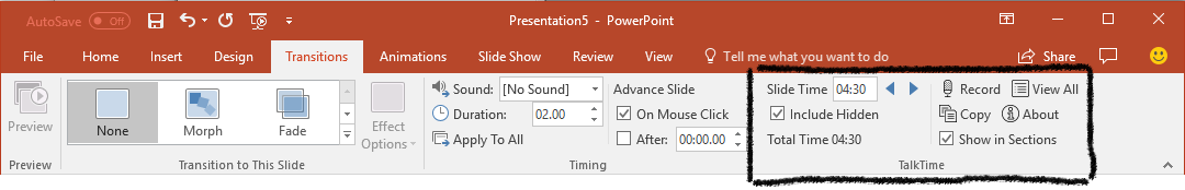 TalkTime group in PowerPoint ribbon Transitions tab