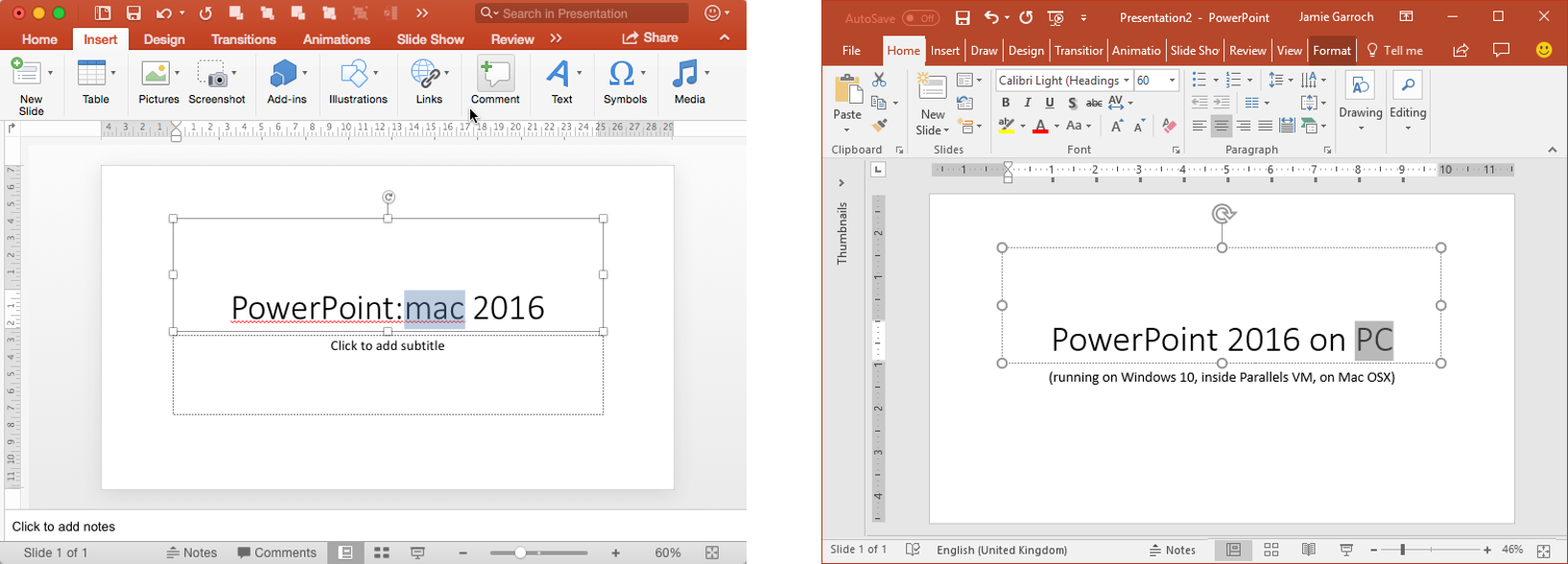 PowerPoint 2016 Mac versus PC