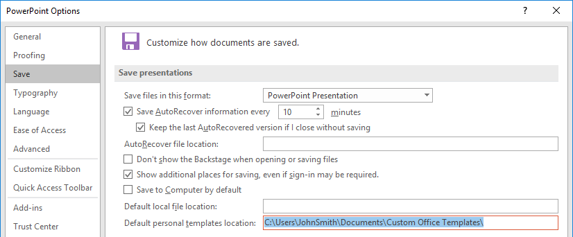 Set the default template when powerpoint starts youpresent powerpoint 2016 options personal templates location toneelgroepblik