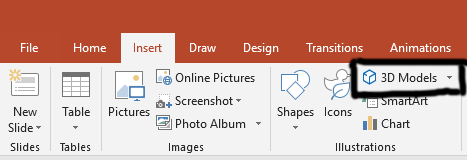 3D Models in PowerPoint ribbon