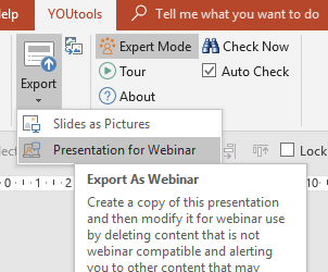 Exporting your PowerPoint presentation for webinar upload and conversion