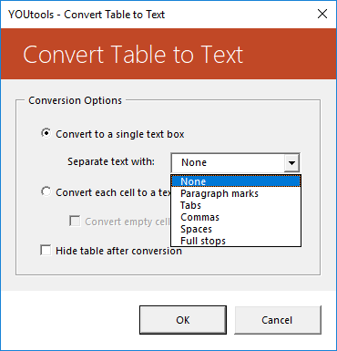 YOUtools Table Convert to Text Options
