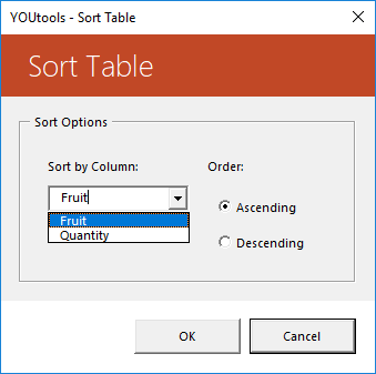 YOUtools Table Sort Options