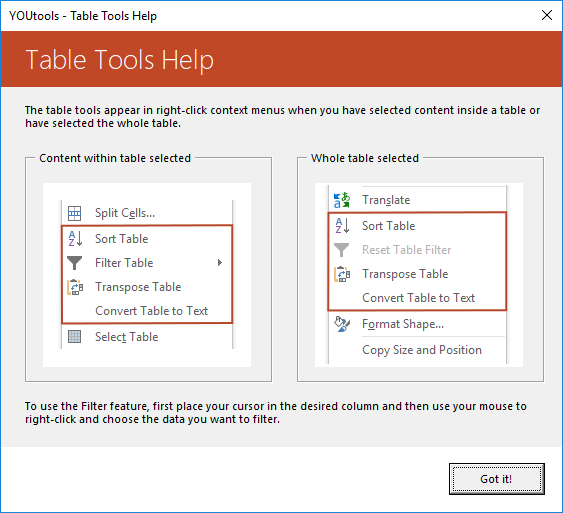 YOUtools Table Tools Help
